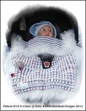KNITTING PATTERN BABYDOLL HANDKNIT DESIGNS CAR SEAT BLANKET BABY 0-9M SEAT