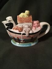 Noah'S Ark Hand Painted Ceramic Teapot Tea Pot Individual Miniature