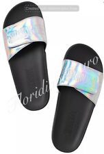 New Victorias Secret PINK Iridescent Silver Slide Sandal Slipper Big S 5-6 NWT