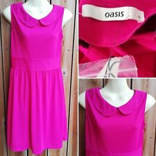 OASIS Pink Peter Pan Collar Knee Length Key Hole Sleeveless Dress Small BNWT