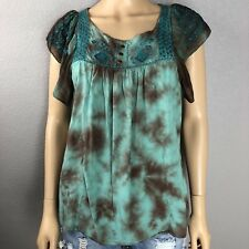 Live And Let Live Peasant Top Size Petite Small Short Sleeve Flowy Boho Tie Dye