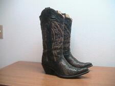 Womens 8 M Corral Black/Copper Genuine Python Snakeskin Western Cowboy Boots