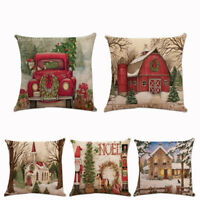 "Christmas Xmas Santa Claus Cushion Cover Pillow Case Square Home Decor 18""x18"""