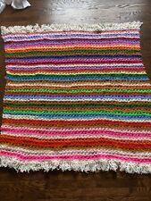 "HandMade Bright RAINBOW Stripe Afghan Throw Blanket Crochet Bedspread 60"" x 60"""
