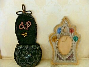Antique Victorian Iroquois Beaded Picture Frame & Slipper Wall Pocket 1890's