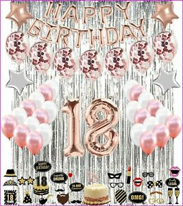 18Th Birthday Decorations Party Balloons ROSE GOLD For Girls Boys-photo prop