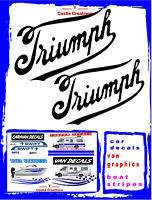 "TRIUMPH 8"" PAIR  Motorcycle MotorBike Tank Fairing Stickers Decals"