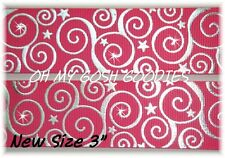 "3"" Swirls & Stars Shocking Pink Silver Foil Chevron Bling Grosgrain Ribbon"