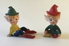 Vintage Pair Pottery Ceramic Pixies Gnomes Elf Elves Sitting Unglazed Painted