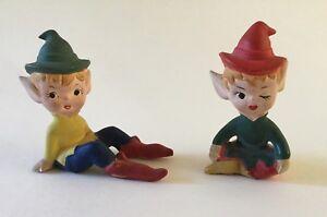 Vintage Pair Pottery Ceramic Pixies Gnomes Elf Elves Sitting Unglazed Painted