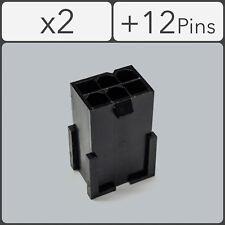 x2 6 pin Male PCI-e GPU Power Connector Socket - Black + 12 Pins
