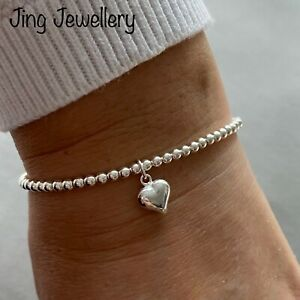 Sterling Silver Stretch Beaded Stacking Bracelet With Puffed Heart Charm 925