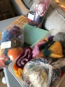 Bundle Of Wool Tops Fibres & Accessories For Felting / Needle Felting