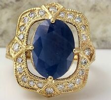 5.66Ct Natural Blue Sapphire & Diamond 14K Yellow Solid Gold Ring