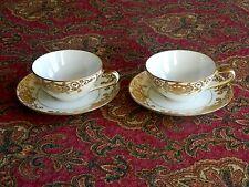2 Old Noritake Japan CHRISTMAS BALL Gold on Cream Tea Cups & Saucers  #175