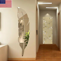 3D DIY Removable Feather Mirror Home Room Decal Vinyl Art Stickers Wall Decor
