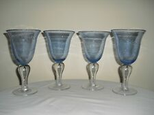 4 ARTLAND IRIS BUBBLE Wine / Water Goblets / Glasses HAND CRAFTED - Light Blue