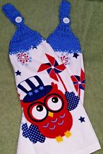 Pair of Hand Crocheted Hanging Kitchen Dish Towels - 4th of July Owls  Blue