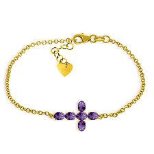 14K Yellow Gold Bracelet w Genuine Gemstone Purple Amethyst Febriary Birthstone