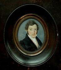 (B250) Miniatur Bildnis, Portrait eines Herrn, Gouache um 1820