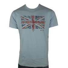 "Mens Ben Sherman Union Jack Mod Sixties 60s Indie Skin Retro T-shirt Tee S-4xl Sky Blue S (chest 36""-38"")"