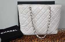 CHANEL Pearl Cotton Club Large Quilted Leather Handbag Shopper Purse