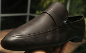 GUCCI Men's  GG LOGO Brown  soft Leather drivers  shoes loafers Italy Sze 9.5.D