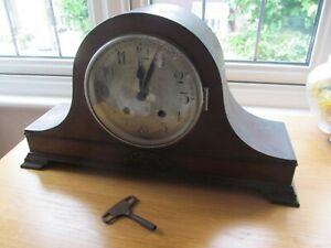 Vintage 1930's Napoleon Hat Wooden Chiming Mantle Clock Service Spares or Repair