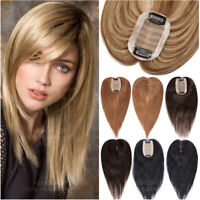 Free Part Women 100% Human Hair Toupee Silk Base Topper Clip In Hairpiece Wig US
