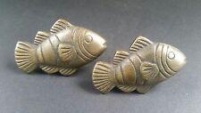 "2 Tropical Fish Brass Knobs Pulls Handles Ocean Beach Seaside Hardware 2"" #K11"