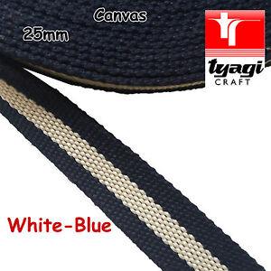 "25mm Canvas Cotton 100% Striped 1"" Inch Bag Strap Belt Webbing Handle"