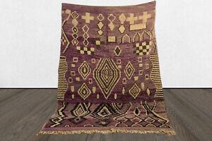 Moroccan 6x8 vintage berber purple area rug, Handmade tribal wool azilal rug