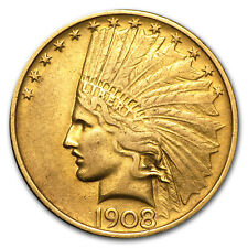 1908 $10 Indian Gold Eagle (No Motto, Cleaned) - SKU #73342
