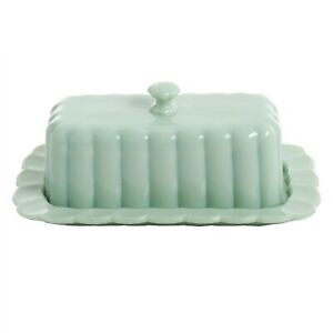 THE PIONEER WOMAN Timeless Beauty Jade Scalloped & Ribbed Butter Dish w/Lid 2pcs