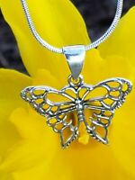 925 Sterling Silver Butterfly Pendant Includes Italian Snake Chain