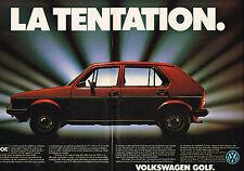 PUBLICITE ADVERTISING 015  1982  VOLSKSWAGEN   la GOLF  ( 2 pages)