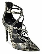 G by GUESS Women's Farrell Strappy Caged Pump Snake Print Size 8.5 M