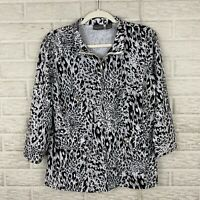 Additions By Chicos Womens Jacket Size 1 Medium Animal Leopard Print 3/4 Sleeve