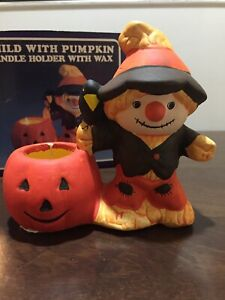 Ceramic Child With Pumpkin Candle Holder With Wax