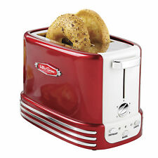 Retro Red Bagel Toaster ~ 2-Slice Wide Slots 5 Settings Crumb Tray Vintage Style