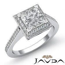 Halo Pave Set Princess Cut Diamond Engagement Ring GIA F VS1 18k White Gold 2ct