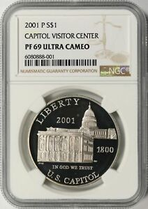 2001-P Capitol Visitor Center $1 Commemorative Dollar NGC PF69 Ultra Cameo