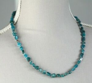 """NEON APATITE NUGGET NECKLACE ~ STERLING SILVER 19"""" IN LENGTH"""