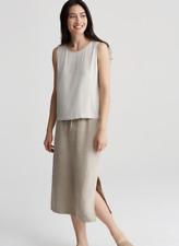 4a0a1678c71 Eileen Fisher Heavy Organic Linen Natural Calf Length Skirt 1X  218