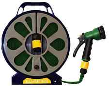 Flat Garden Hose Pipe & 50FT Reel With Spray Nozzle Gun Outdoor Watering 15m