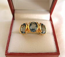 4.35 Ct. Iolite '3 Stone'  14k Yellow Gold plated Sterling Silver Ring