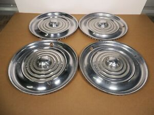 "Set of 4 Original 1956 Oldsmobile 15"" Hubcaps Vintage Wheel Chrome Hub Caps"