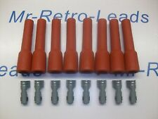 RETRO RED IGNITION SPARK PLUG RUBBER BOOTS & TERMINALS X 8  FULL SET V8 ENGINE