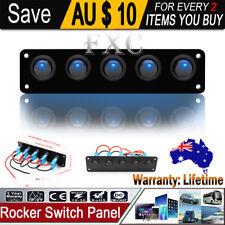 5GANG 12V ON/OFF Round Dash Rocker Toggle Switch Panel LED Fog Light Car Marine