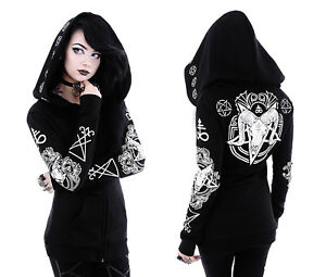 Restyle Gothic Jacke Skull Hoodie Nugoth Sigil Lucifer Ram Kapuze Witchy Ritual